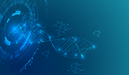 Isometric science concept. Abstract DNA technology background. Vector illustration Illustration
