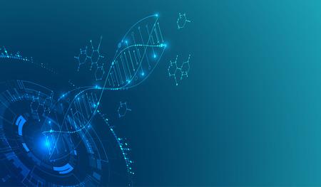 Isometric science concept. Abstract DNA technology background. Vector illustration Ilustração Vetorial