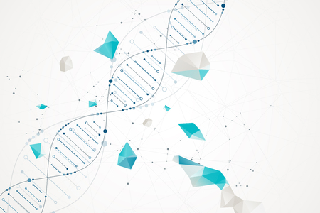 Science template, wallpaper or banner with a DNA molecules. Vector illustration.