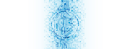 Concetto astratto di tecnologia del cerchio. Circuito stampato, sfondo di colore computer elevato. Illustrazione vettoriale