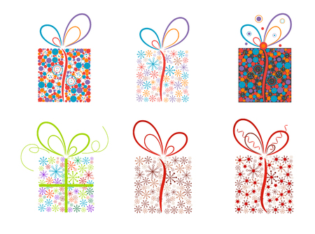 Set of Christmas present boxes.