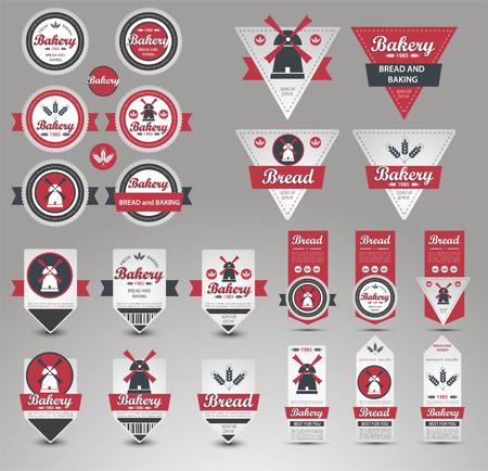 Set of vintage retro bakery badges and labels. Vector Illustration