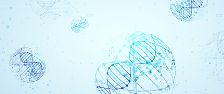 Science template, wallpaper or banner with a DNA molecules. Vector illustration. Archivio Fotografico - 126582878