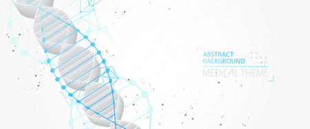 Science template, abstract background with a 3D DNA molecules. Vector illustration. Illustration