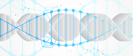 Science template, abstract background with a 3D DNA molecules. Vector illustration.