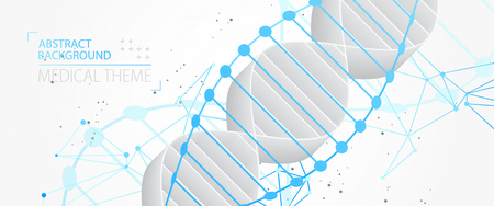 Science template, abstract background with a 3D DNA molecules. Vector illustration. Vektorgrafik