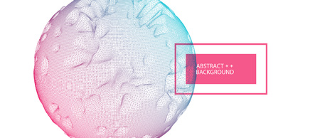Abstract sphere background with waves. 3D surface. Illusztráció