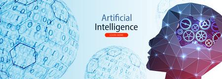 Artificial Intelligence concept.  Creative brain concept  イラスト・ベクター素材