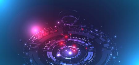 Concept de technologie abstraite. Carte de circuit imprimé, fond de couleur d'ordinateur élevé. Illustration vectorielle