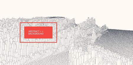 Square pattern. Wireframe landscape background. Futuristic vector illustration. Stock fotó - 124315132
