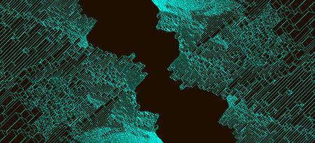 Square pattern. Wireframe landscape background. Futuristic vector illustration.