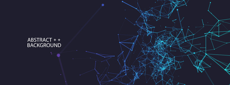Abstract polygonal with connecting dots and lines. Digital data visualization.