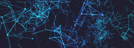 Abstract polygonal vector  with connecting dots and lines. Digital data visualization. Ilustração