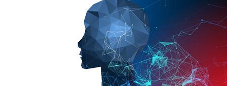 Artificial Intelligence concept.  Creative brain concept background. Vector science illustration. Illustration
