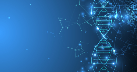 Modello di scienza, carta da parati o banner con molecole di DNA.