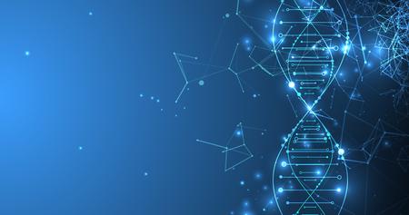 Nauka szablon, tapeta lub baner z cząsteczkami DNA.