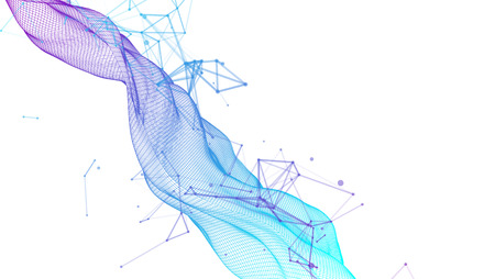 Polygonal science  with connecting dots and lines. Digital data visualization.