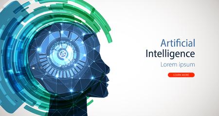 Artificial Intelligence concept. Creative brain concept