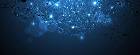 Contexte scientifique polygonal avec des points et des lignes de connexion. Visualisation des données numériques.