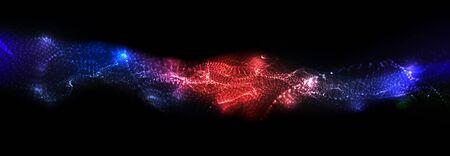 Abstrakcyjne tło. Dynamiczny przepływ cząstek. Modny wzór płynnej okładki. Ilustracje wektorowe