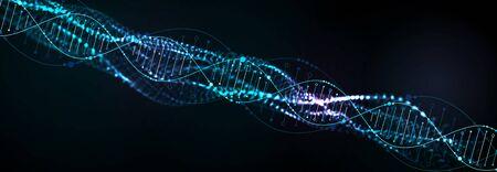 Modèle scientifique, abstrait avec des molécules d'ADN 3D. Illustration vectorielle. Vecteurs