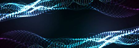Science template, abstract background with a 3D DNA molecules. Vector illustration.  イラスト・ベクター素材