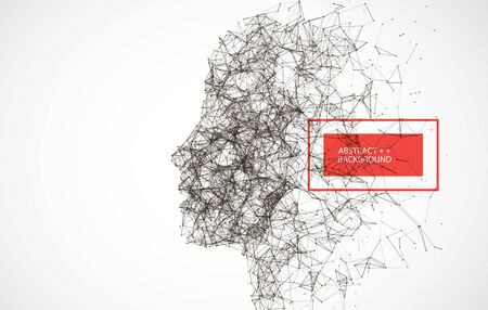Plexus Artificial Intelligence concept.  Creative brain concept background. Vector science illustration.