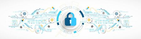 Secure digital space. Virtual confidential, programming protection. Ilustração Vetorial