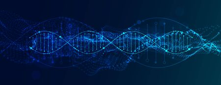 Science template, abstract background with a DNA molecules. Vector particles illustration. Ilustração