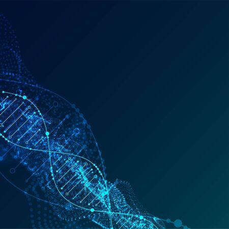 Plantilla de ciencia, antecedentes con moléculas de ADN. Ilustración de partículas vectoriales.