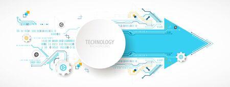 Placa de circuito de tecnología abstracta. Concepto de comunicación. Tema de flecha. Ilustración de vector