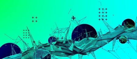 Wireframe science background with plexus effect. Futuristic vector illustration. Illusztráció