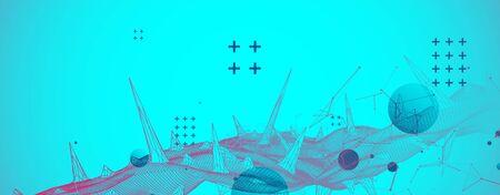 Wireframe science background with plexus effect. Futuristic vector illustration. Ilustração