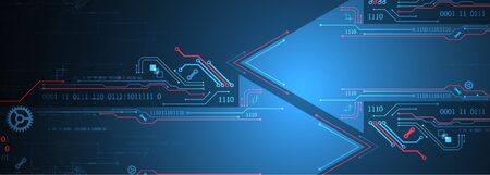 Abstract technology circuit board. Communication concept. Arrow theme.