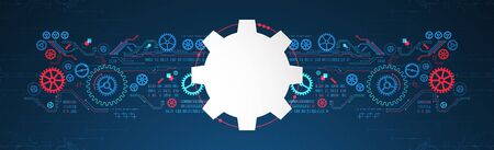 Abstract technology concept. Background with various cogwheels. Vector illustration. Ilustração