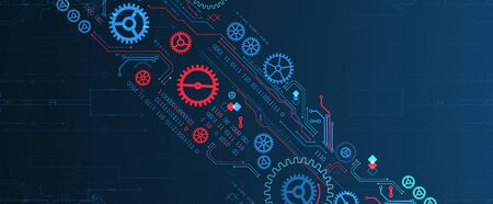 Abstract technology concept. Background with various cogwheels. Vector illustration. Illustration