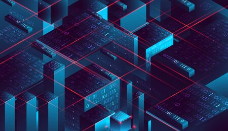 Isometric big data flow processing concept, database. Abstract technology background. Vector illustration
