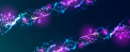 Science template, wallpaper or banner with a DNA virus molecules. Vector illustration.