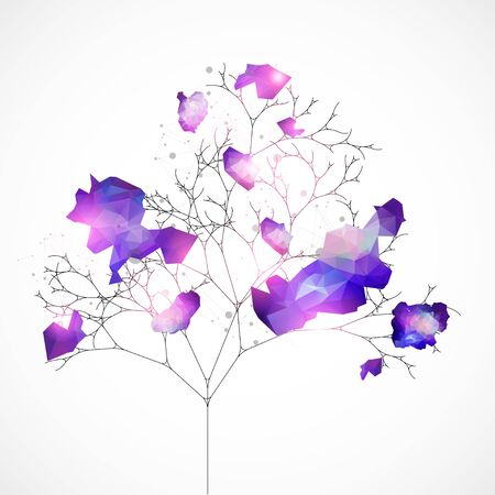 Abstract nature background. Vector tree. Geometric composition for design works.