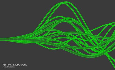 Vector abstract background with a wireframe dynamic waves, line and particles.