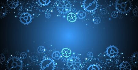 Abstract blue technological background. Structure square pattern with cogwheels and plexus effect. Vector