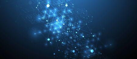 Contexte technologique avec effet plexus. Notion de données volumineuses. Code informatique binaire. Illustration vectorielle. Vecteurs