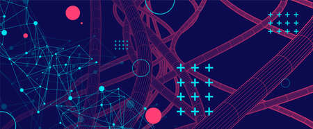Vector abstract background with a wireframe dynamic pipes, line and particles. Plexus effect.