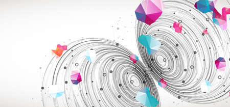 Colorful abstract swirling background with dots and geometric objects.