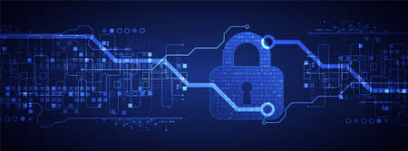 Padlock icon.Personal data security Illustrates cyber data or information privacy idea. Color abstract  internet technology.