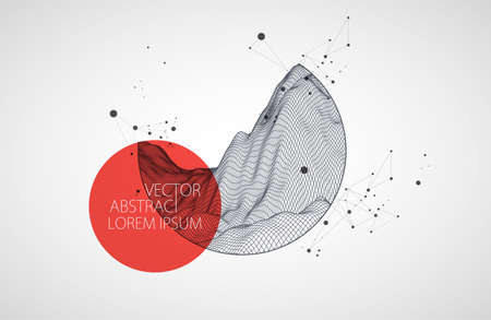 Modern science or technology elements. Trendy abstract background. Cyberspace surface illustration. Vector.