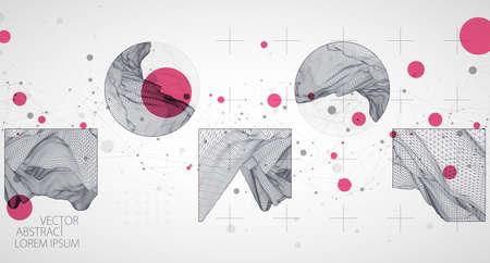 Wireframe background with plexus effect. Futuristic vector illustration.