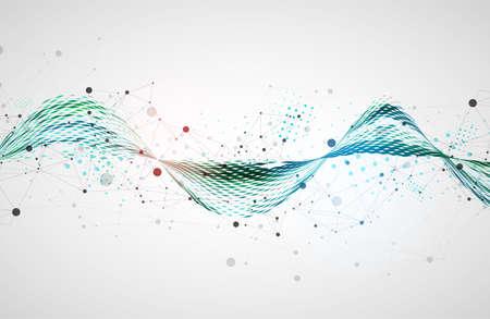 Template for science and technology presentation. Plexus style background. Ilustração