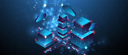Isometric big data concept, database. Abstract technology background. Vector illustration