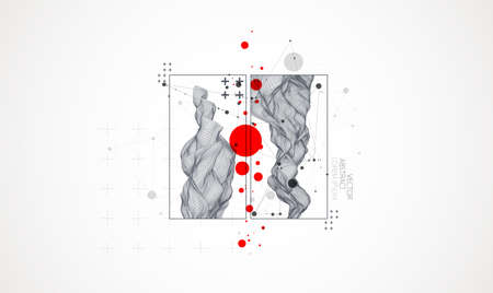 Modern science or technology elements in square. Trendy abstract background. Surface illustration. Vector. 向量圖像